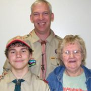 Donald with his mother and boy scouts troup leader