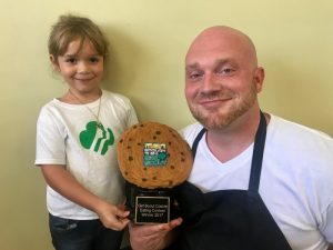 Girl Scout, Grace, and the Winner, Chris Wojewnik of Dining Services