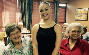 Christina with two of our Town Center residents who take ballet here at The Fountains at Canterbury with OKC Ballet, Jane Coalson and Darline Bennett.